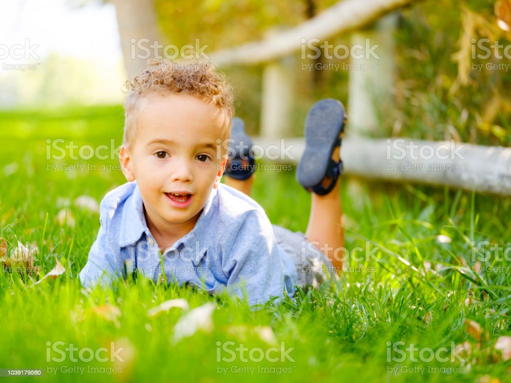 Little Boy at the Park stock photo