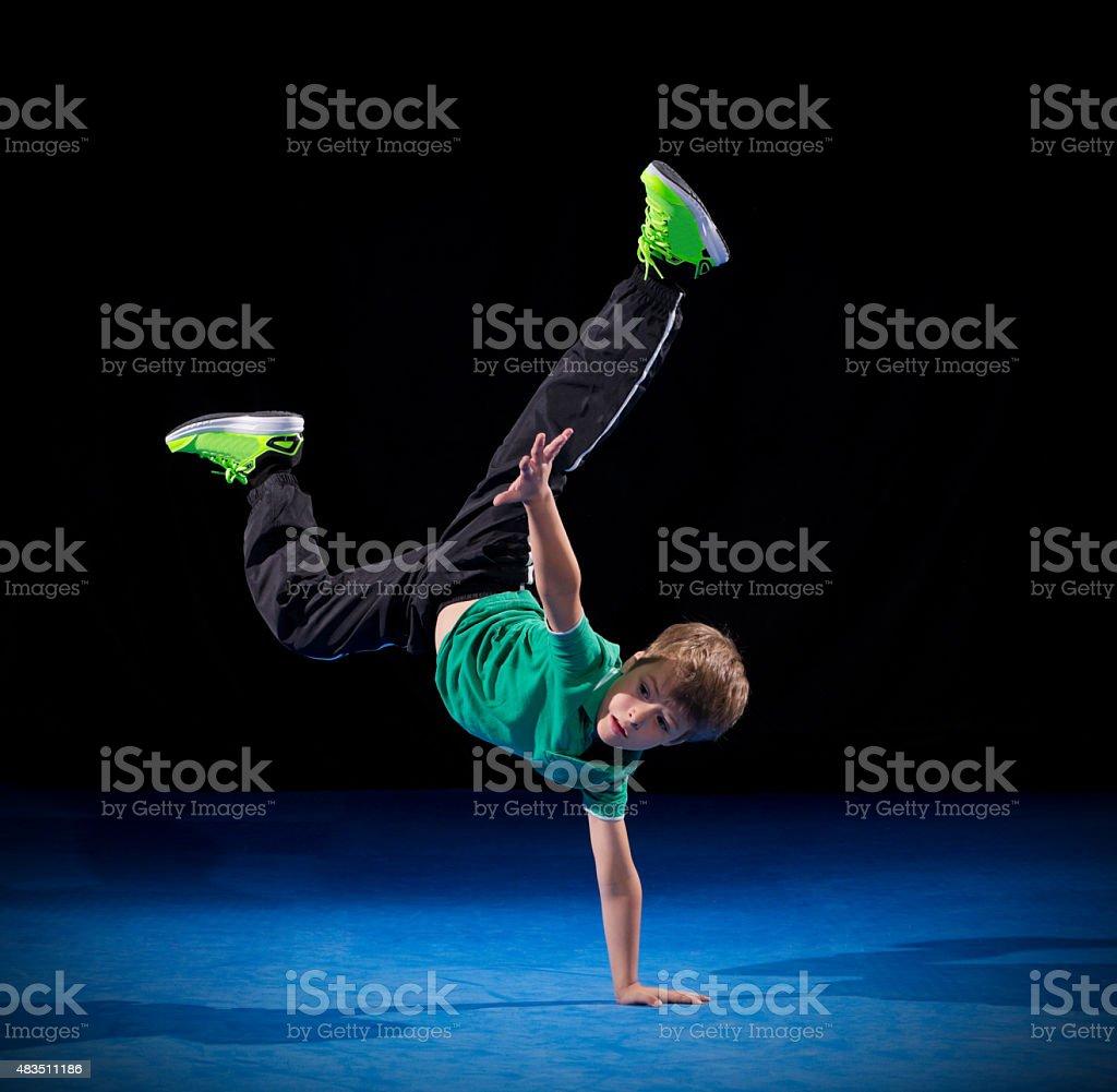Little boy break dancer stock photo