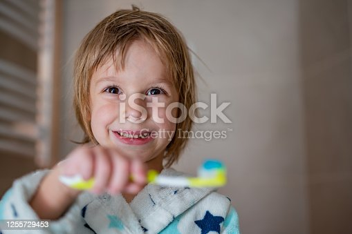 948443044 istock photo Little boy brush teeth 1255729453