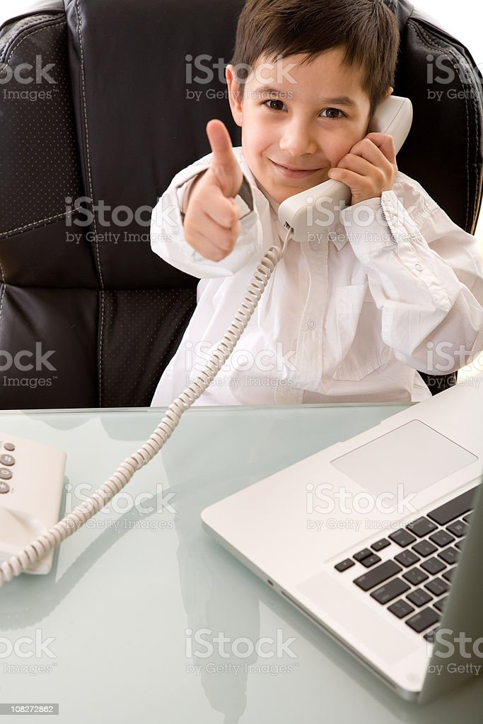 Little Boy Businessman Giving Thumbs Up royalty-free stock photo