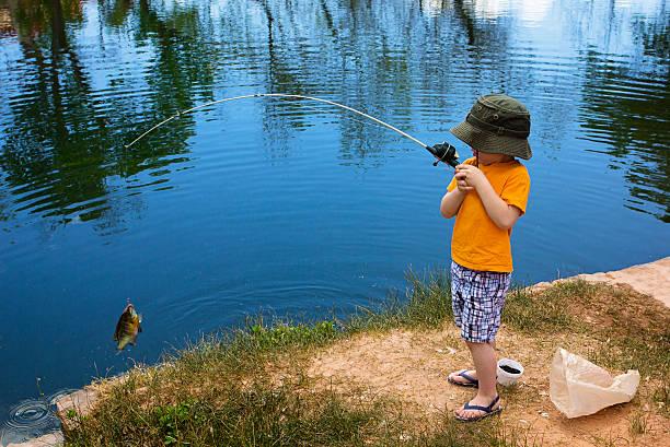 Little Boy Catching a Fish stock photo