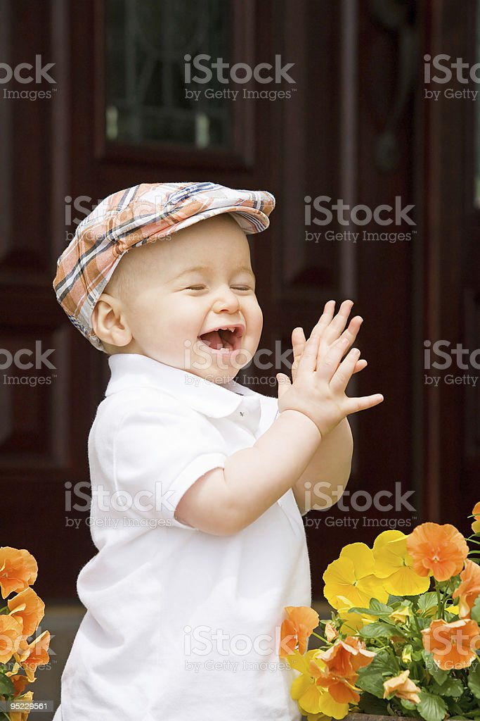 Little Boy Clapping stock photo