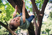 Little boy aged 8 in forest or park climbing a tree. Little boy is hanging from the branch and laughing at the camera.\nNikon D850.