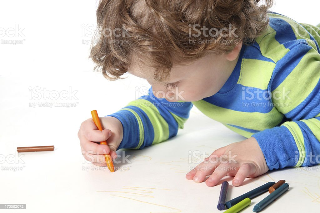 Little Boy Coloring stock photo