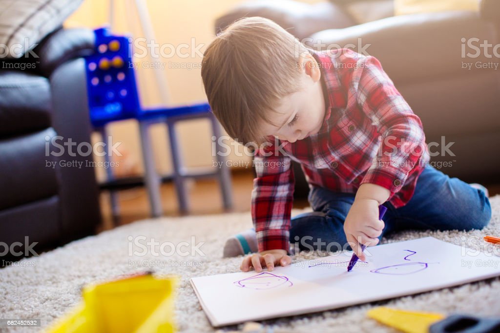 Little boy coloring royalty-free stock photo