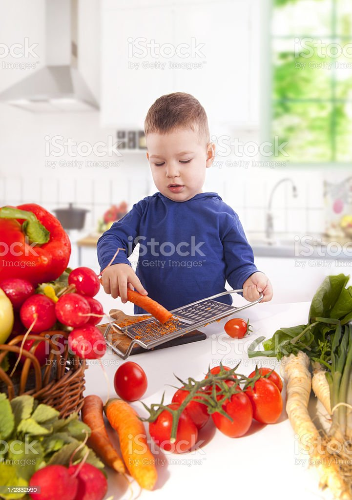 Little boy cooking royalty-free stock photo