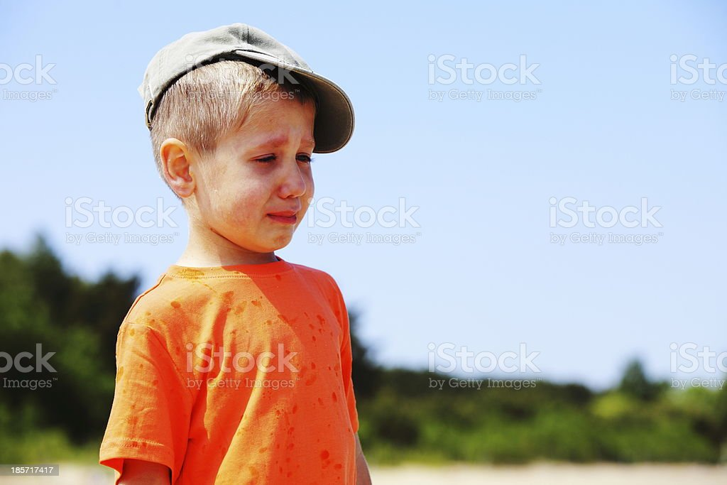 little boy crying outdoor royalty-free stock photo
