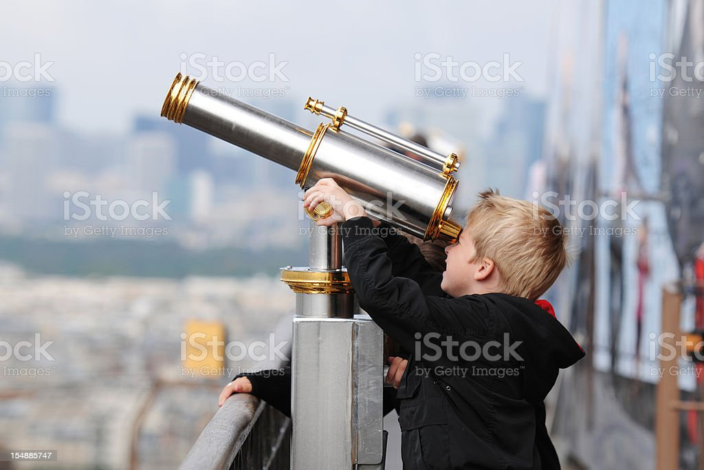 Little Boy Discovery By Telescope - XLarge stock photo