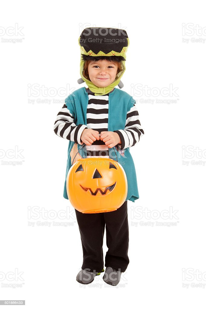 Little Boy Dressed As Frankenstein Trick-Or-Treating stock photo