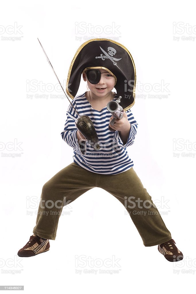 Little boy dressed in pirate costume stock photo