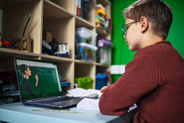 Little boy during COVID-19 quarantine attending to online school class from his room. stock photo