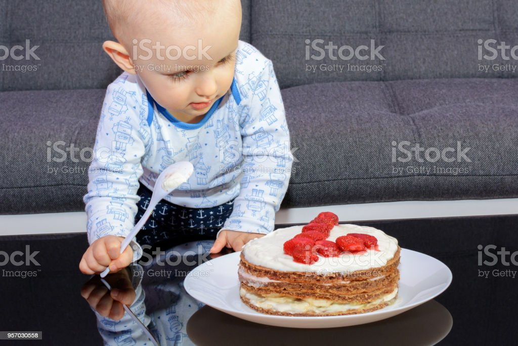 Outstanding Little Boy Eating Birthday Cake With A Spoon Happy Birthday Stock Personalised Birthday Cards Veneteletsinfo