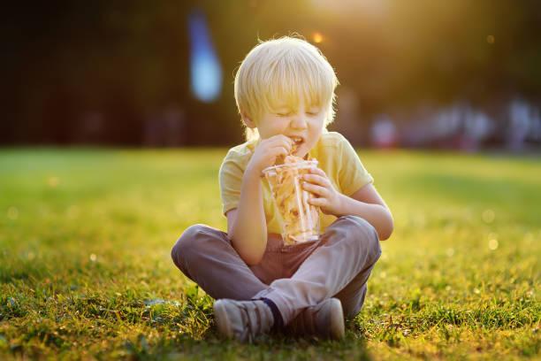 Niño comiendo zanahoria fritas durante la caminata en el Parque - foto de stock
