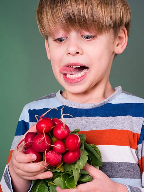 little boy eating radishes stock photo