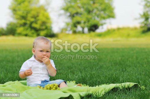 Little boy eats grapes and looking at camera