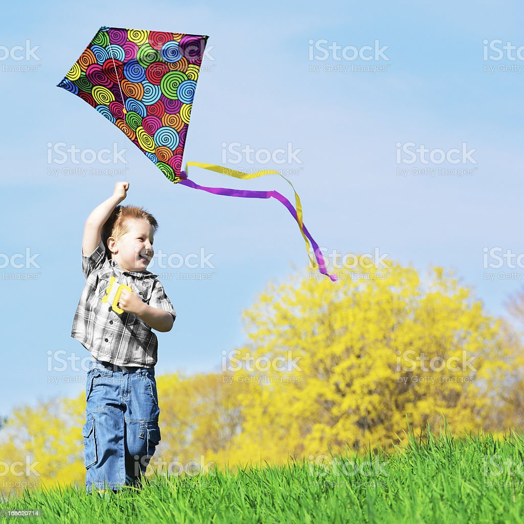 Little boy flying a colorful kite outside in green grass royalty-free stock photo