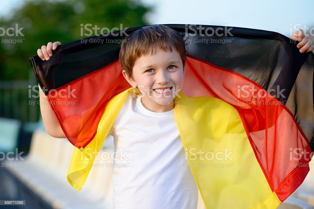 Little boy - Germany national football team fan stock photo