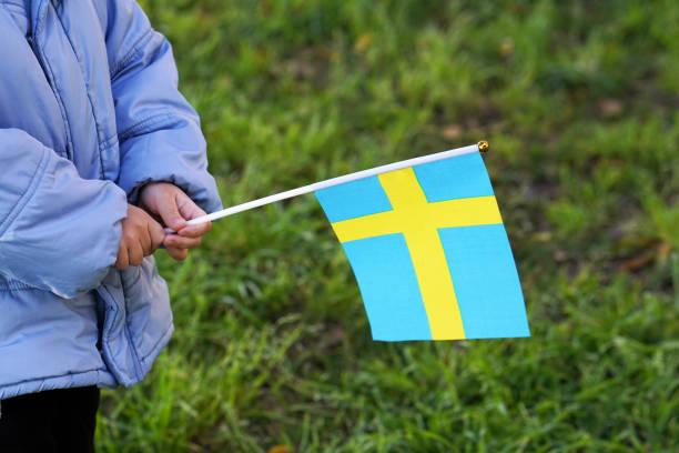Kleine Hände halten Fahne – Foto