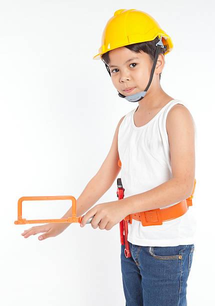 mann für kleine jungen - kindergarten handwerk stock-fotos und bilder