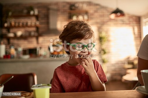 Close up of a little boy having breakfast