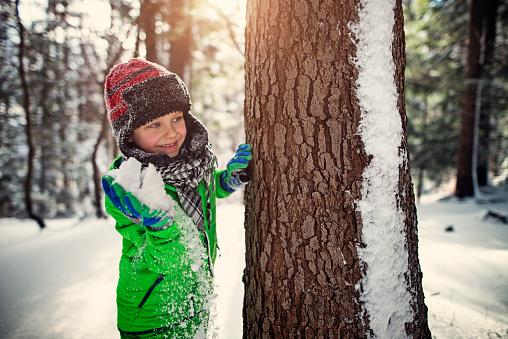 Little boy having showball fight in winter forest