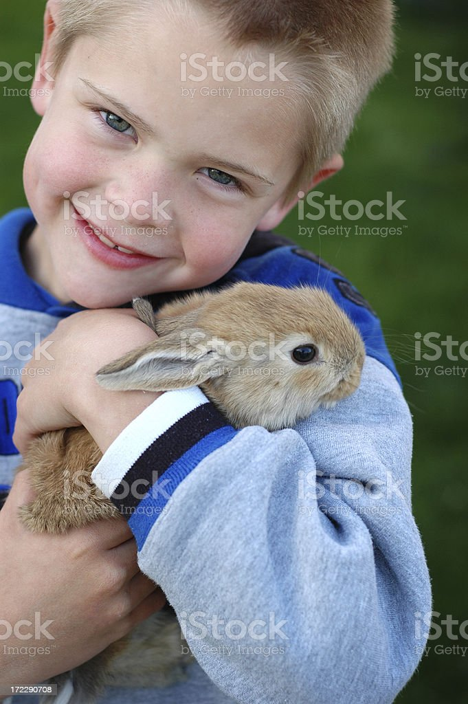 Little Boy Holding a Baby Bunny royalty-free stock photo