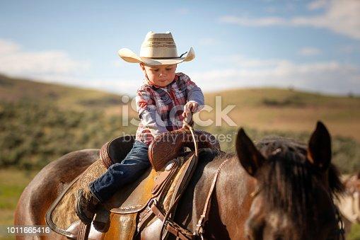 Little boy horseback riding
