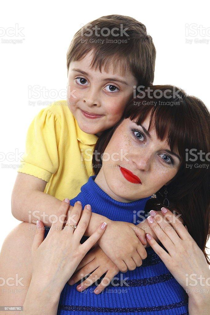 little boy hugs a young beautiful girl royalty-free stock photo