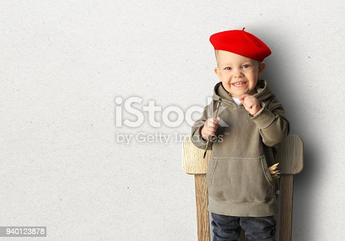 istock Little boy in a red beret 940123878