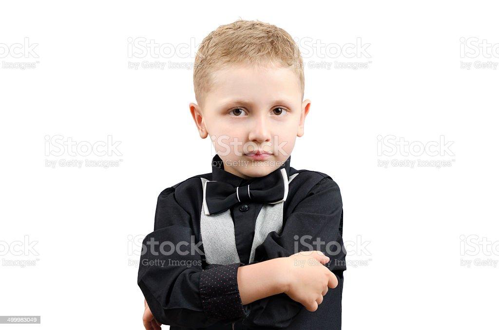 little boy in a waistcoat stock photo