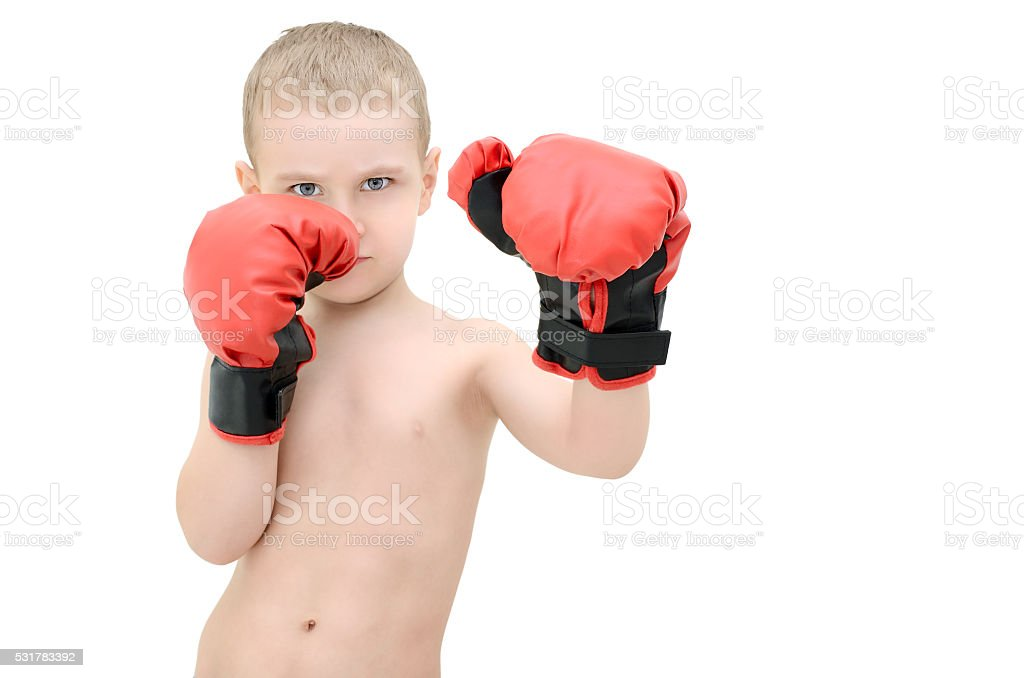 Little boy in boxing gloves on a white background stock photo
