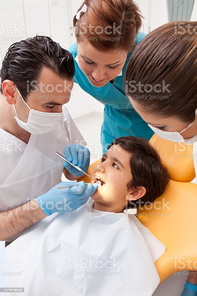Little boy in dentist office royalty-free stock photo