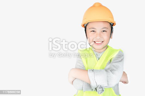 istock Little boy in engineering uniform with helmet and copy space 1178888258