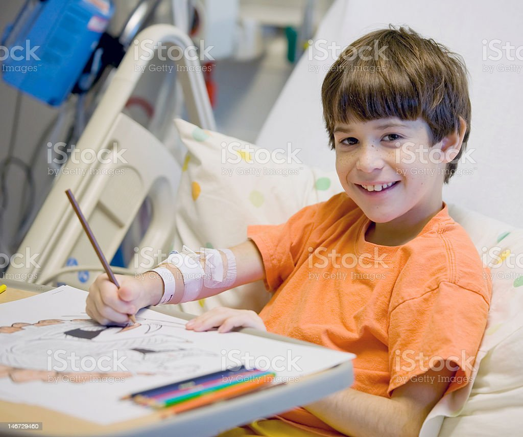 Little Boy in Hospital stock photo