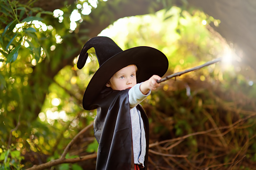 Little boy in pointed hat and black cloak playing with magic wand outdoors. Little wizard. Halloween concept