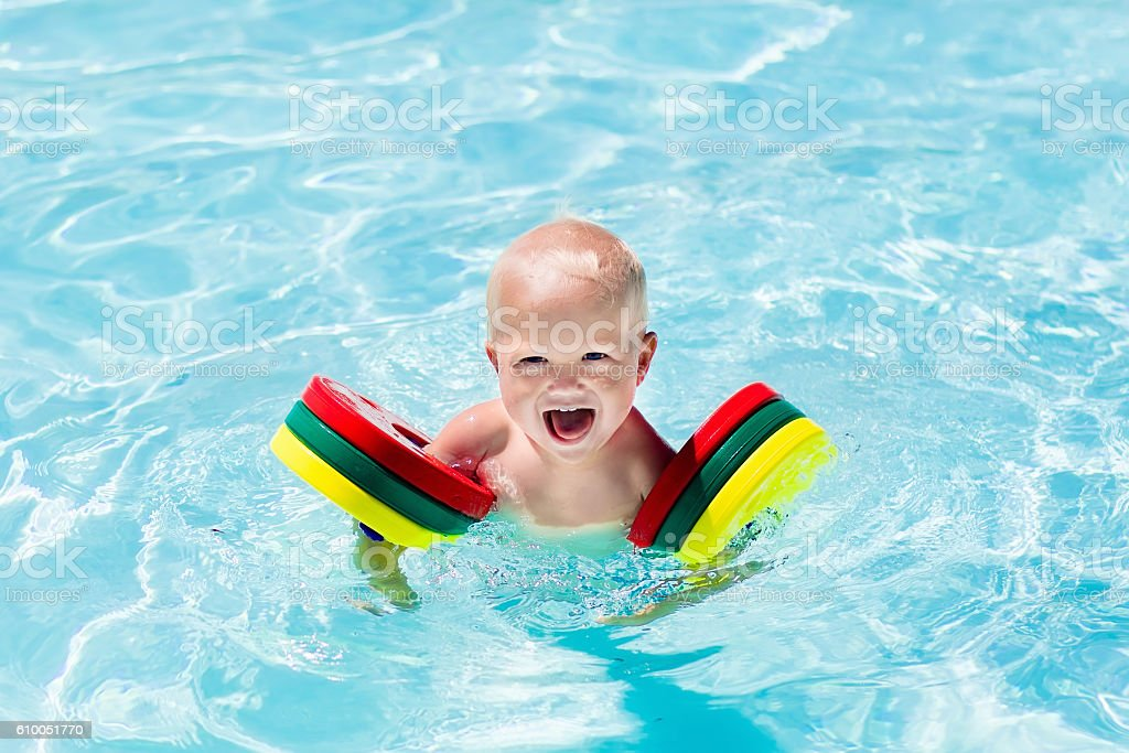 Little boy in swimming suit stock photo