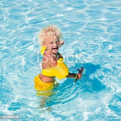 467327992istockphoto Little boy in swimming suit 885698036