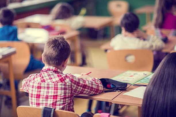 kleiner junge im klassenzimmer. - grundschule stock-fotos und bilder