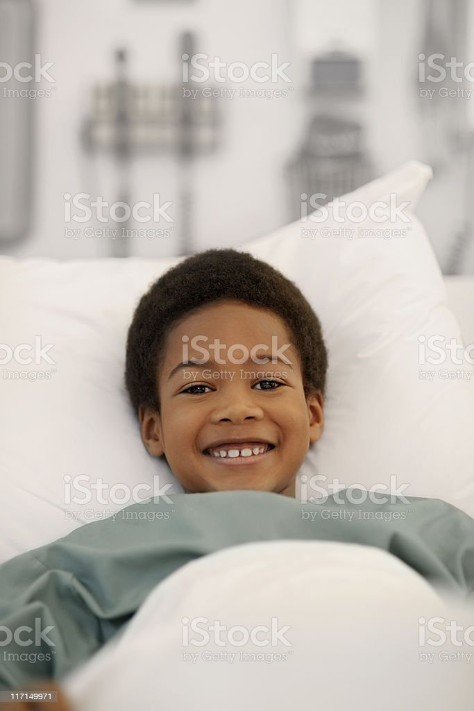 Little boy in the hospital royalty-free stock photo