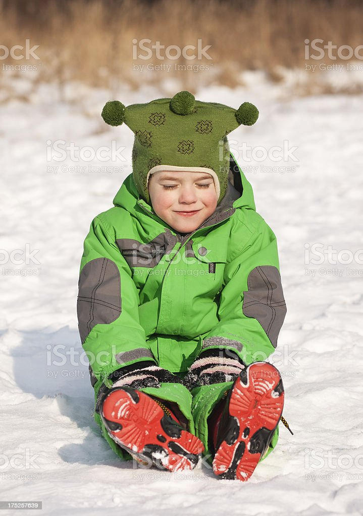 little boy in the snow royalty-free stock photo