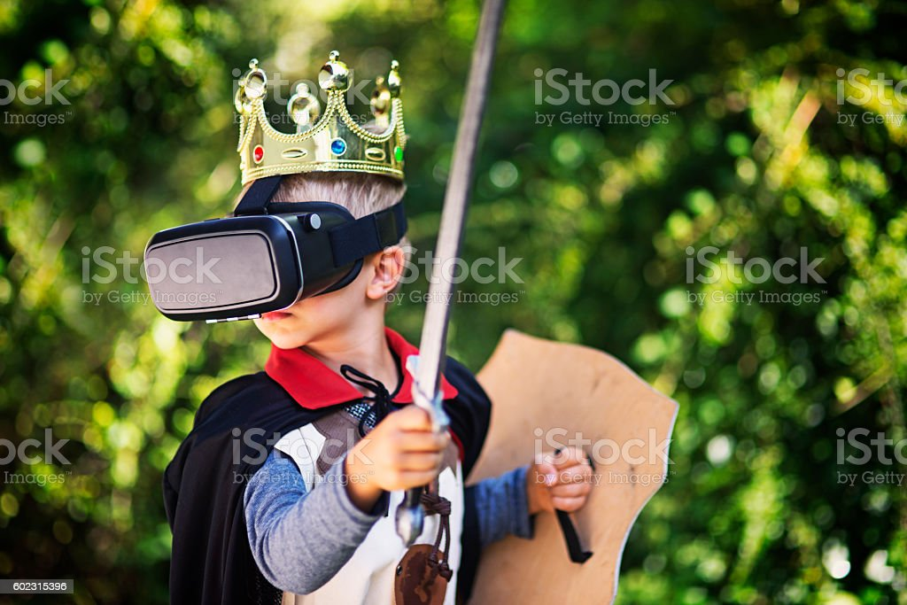 Little boy in virtual reality stock photo