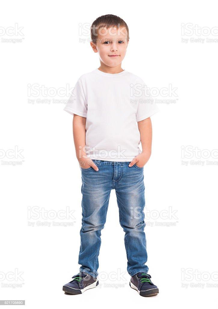 little boy in white shirt stock photo