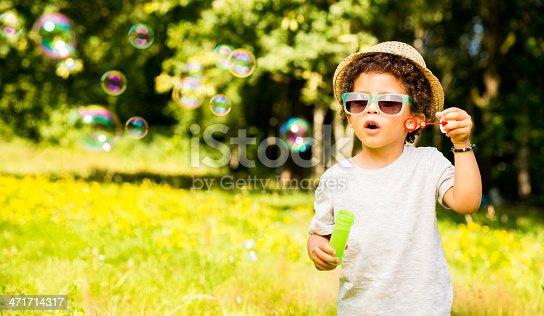 istock Little Boy is amazed by bubbles 471714317