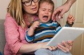 istock Little boy is crying 1185847947