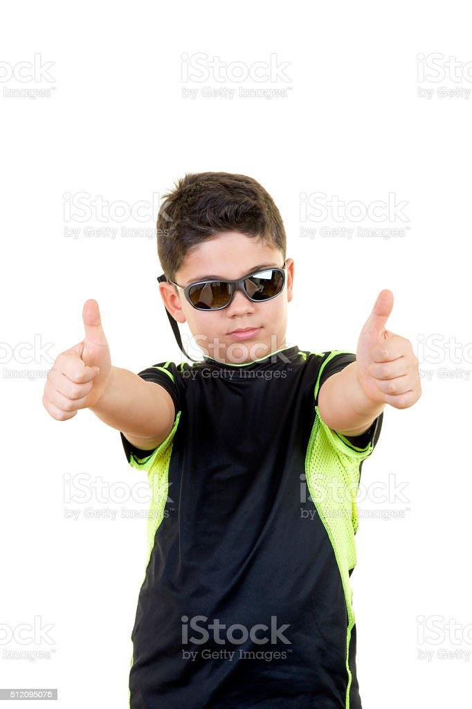 015378bf7e Little Boy is Making OK Sign on Isolated White Background - Stock image .