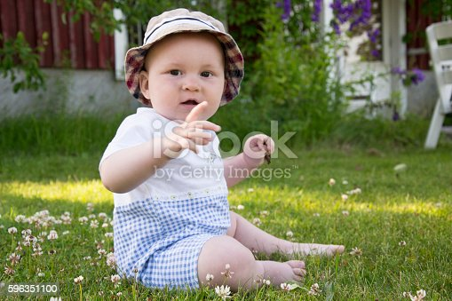 Little Boy Is Playing On Grass Among Flowers Stock Photo & More Pictures of Blue