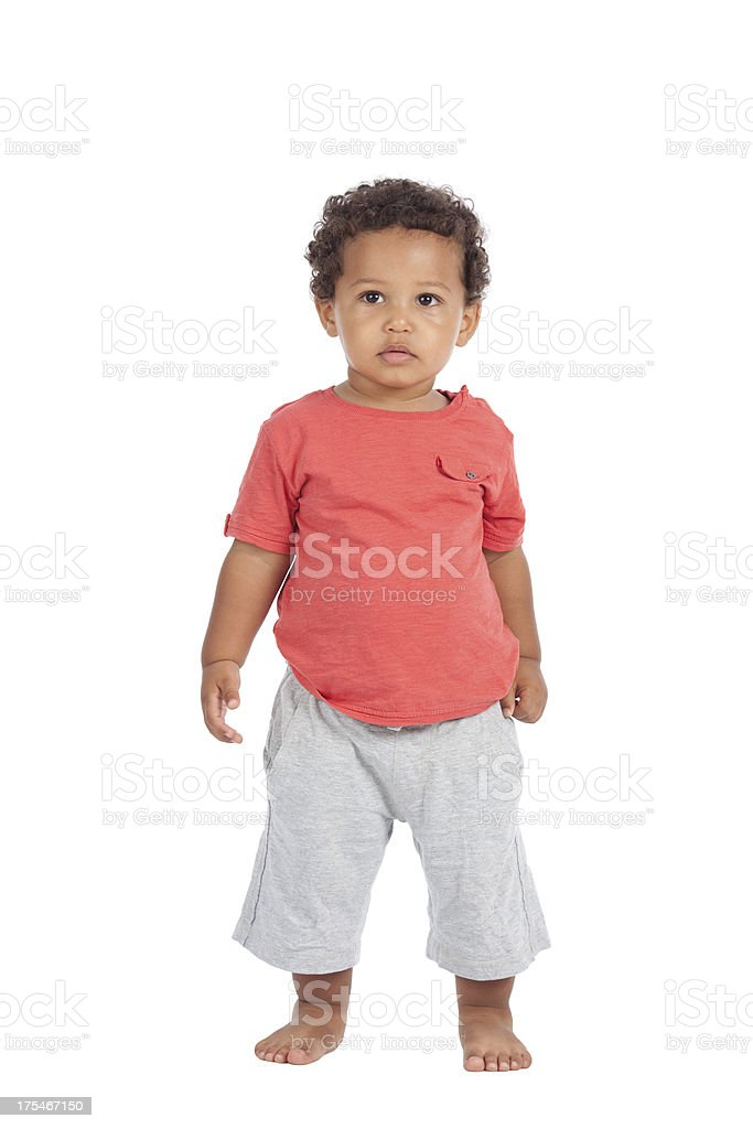 Little boy isolated on white. royalty-free stock photo