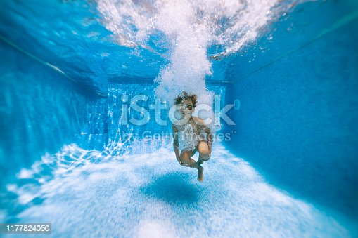 Underwater portrait of a little boy after cannonballing to swimming pool. Shot with Nikon D850
