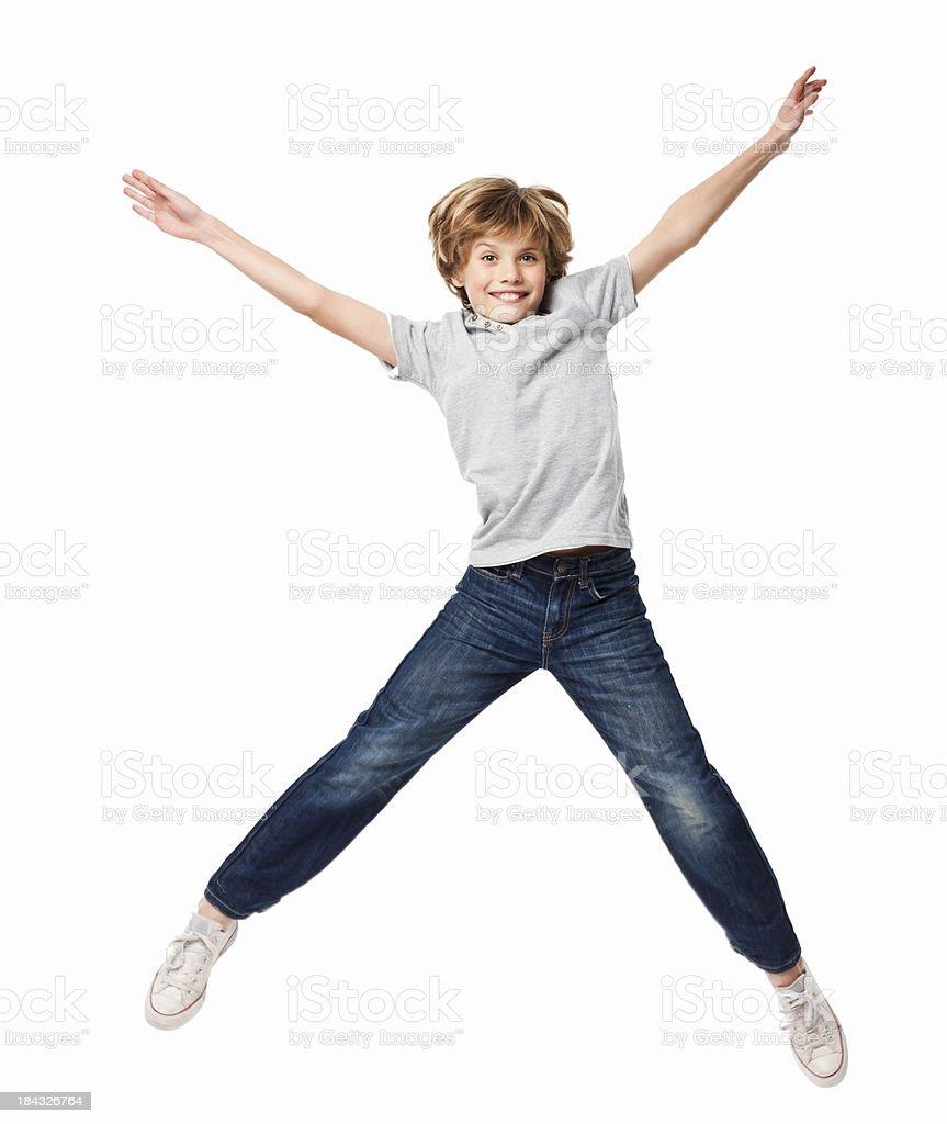 Poco niño saltar en el aire aislada - foto de stock