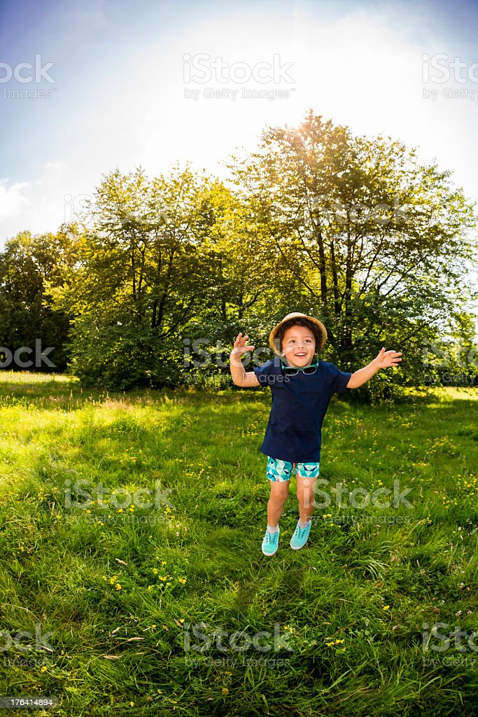 Little boy jumping on a meadow in park royalty-free stock photo